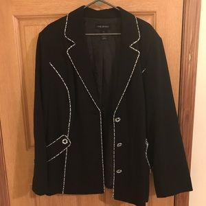Lane Bryant suit jacket- black w/teal and white